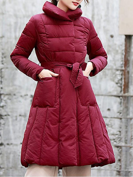 New Red Belt Pockets Double Breasted Turndown Collar Fashion Outerwear