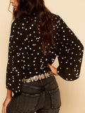 Black V-neck Star Print Knot Front Long Sleeve Blouse