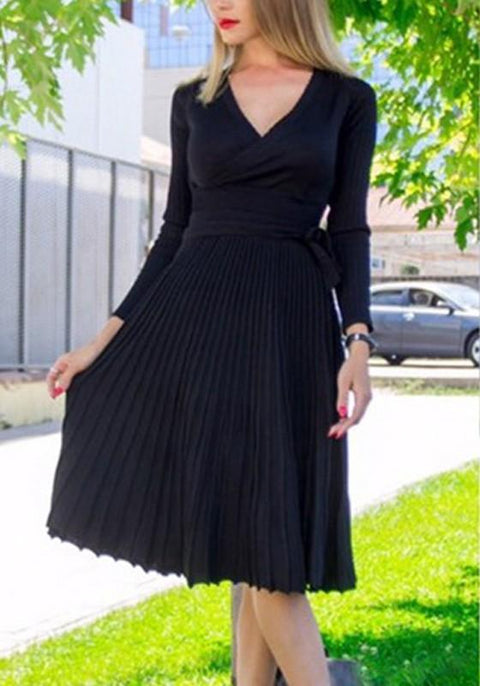 DaysCloth Black Pleated Sashes V-neck Long Sleeve Fashion Midi Dress