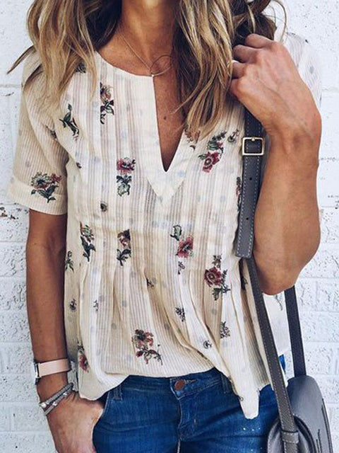 DaysCloth White V-neck Floral Short Sleeve Blouse Top