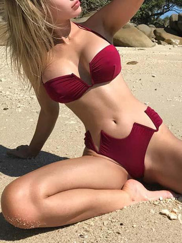 DaysCloth Burgundy Halter Open Back Bikini Top And Bottom