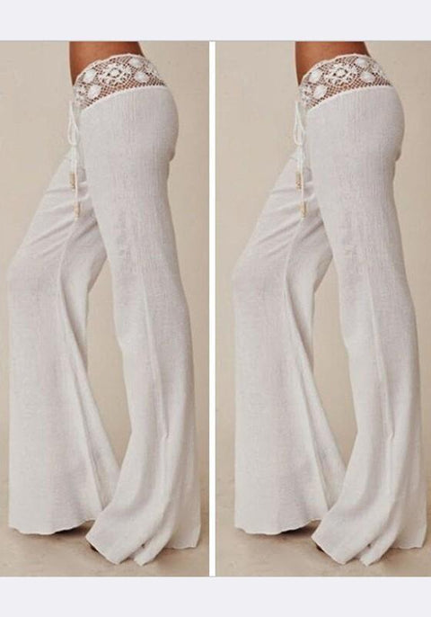 DaysCloth White Patchwork Lace Drawstring Waist Casual Long Pants