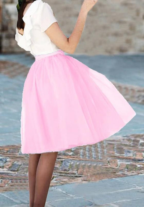 DaysCloth Pink Grenadine Draped Fluffy Puffy Tulle Tutu Homecoming Party Sweet Skirt