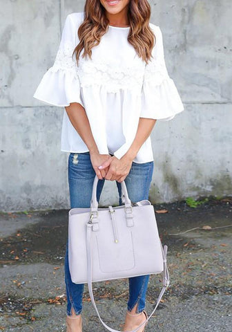 White Patchwork Lace Draped Round Neck Half Sleeve Casual Blouse