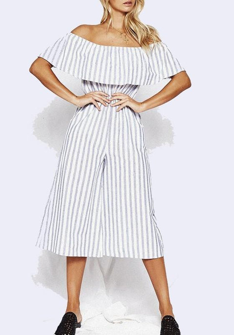 DaysCloth Grey-White Striped Ruffle Pockets Off Shoulder High Waisted Backless Casual Long Jumpsuit