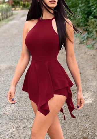 DaysCloth Burgundy Cut Out Peplum Bodycon Casual Party Short Jumpsuit