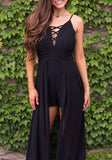 Black Lace-up Cut Out Spaghetti Strap Vegas Short Jumpsuit with Maxi Overlay