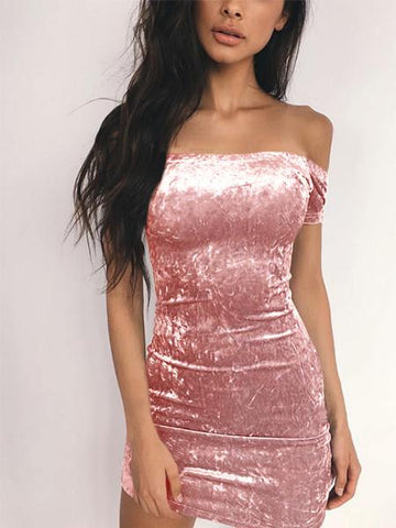 DaysCloth Pink Off Shoulder Velvet Bodycon Mini Dress