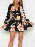 Black Wrap V-neck Floral Long Sleeve Mini Dress