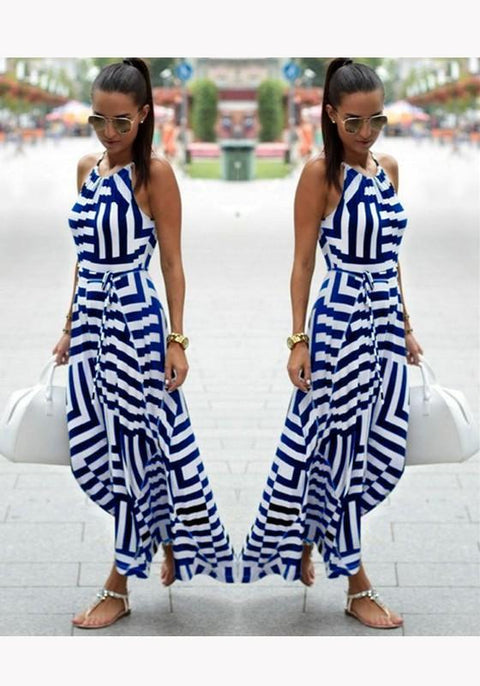 DaysCloth Blue Geometric Sashes Irregular Round Neck Midi Dress