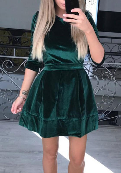 New Green Pleated Sashes Round Neck 3/4 Sleeve Fashion Mini Dress