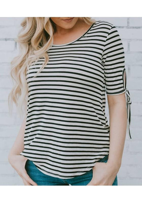 DaysCloth White-Black Striped Print Lace-up Casual Going out T-Shirt