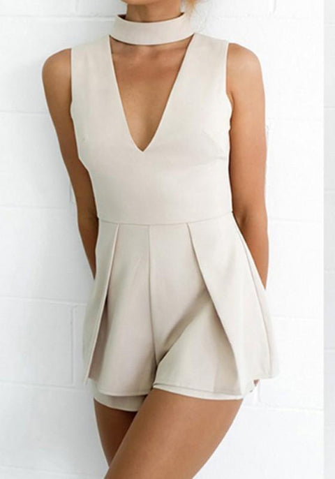 DaysCloth White Plain Draped Cut Out V-neck Fashion Short Jumpsuit