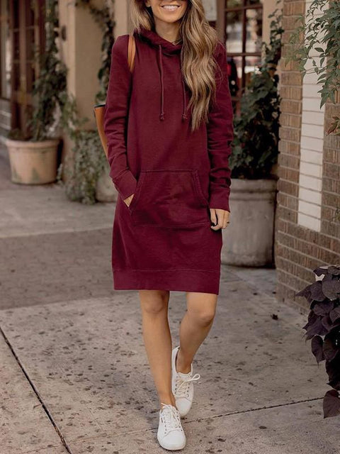 DaysCloth New Date Red Pockets Hooded Long Sleeve Going out Midi Dresses