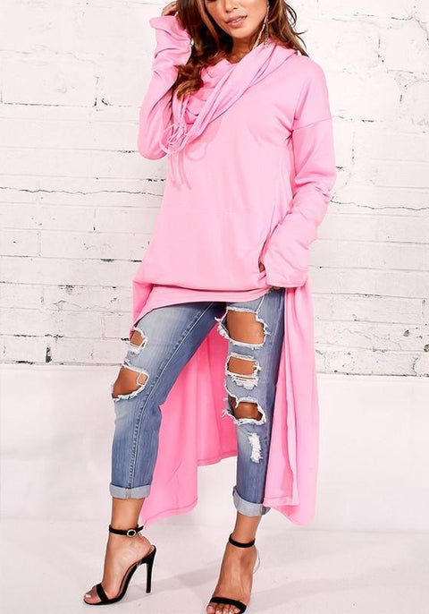DaysCloth Pink Plain Irregular Pockets Hooded Fashion Pullover Sweatshirt