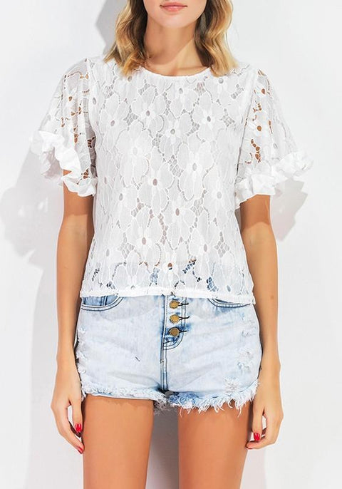 DaysCloth White Flowers Lace Hollow-out Short Sleeve Fashion Blouse