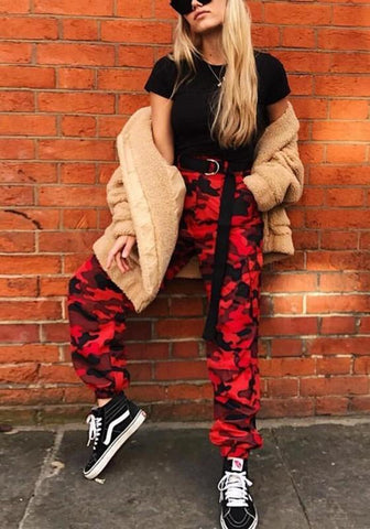 Red Camouflage Print Pockets Camo High Waisted Streetwear Long Jumpsuit
