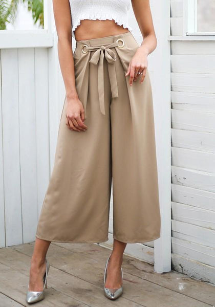 Apricot Sashes Bow High Waisted Casual Nine's Pants