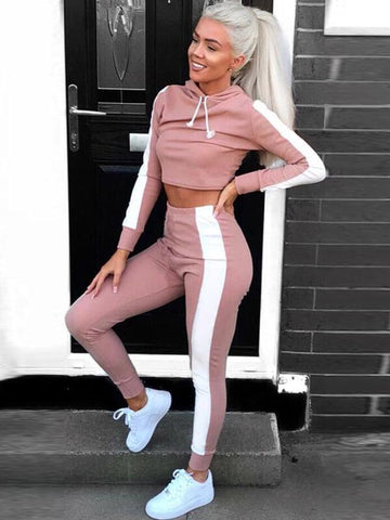 DaysCloth Sport Suit Women Sportswear Tracksuit Jogging Suits for Women Sport Wear Running Outfits Long Sleeve Hooded Crop Top Pants Suits