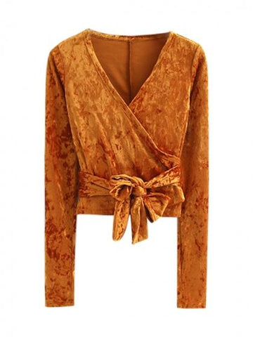 Orange V Neck Wrap Tie Waist Crushed Velvet Long Sleeve Top