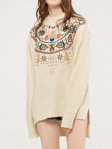 DaysCloth Beige Embroidery Detail Long Sleeve Dipped Hem Knit Sweather
