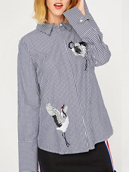 Black Plaid Crane Embroidery Long Sleeve Shirt