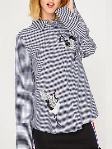 DaysCloth Black Plaid Crane Embroidery Long Sleeve Shirt