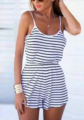 White Striped Condole Belt Backless Casual Short Jumpsuit