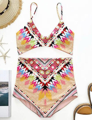 DaysCloth Boho High Rise Bohemian Style Multi Color Bikini Set