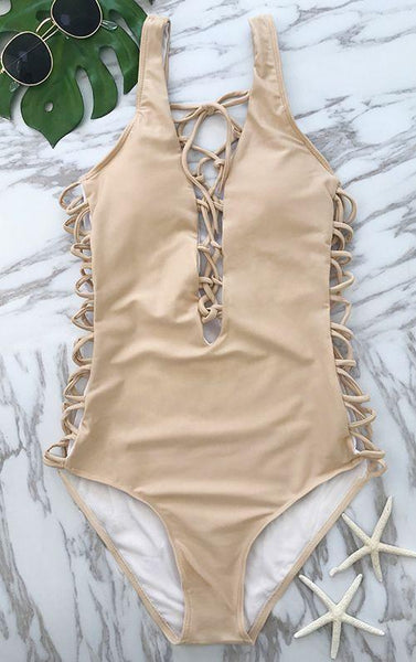 Lace Up Solid Color Criss Cross One Piece Bikini