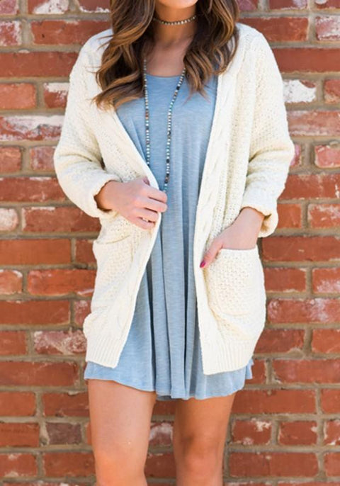 DaysCloth White Pockets Long Sleeve Fashion Loose Cardigan Sweater