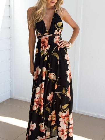 Black Floral Print Plunge Cross Back Split Maxi Dress