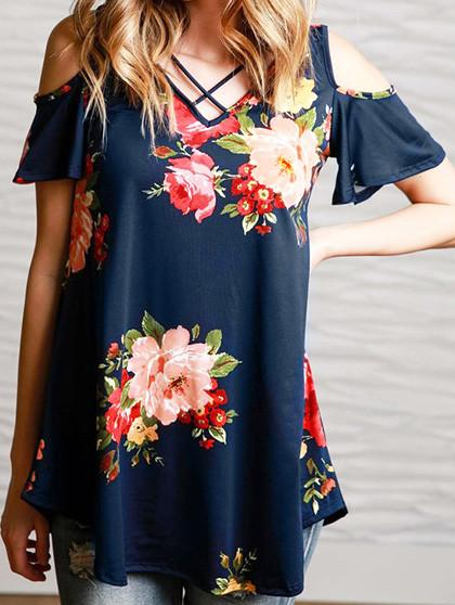 Over size Casual Blue Floral Print Top