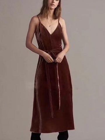 DaysCloth Brown Velvet Spaghetti Strap Tie Waist Thigh Split Midi Dress