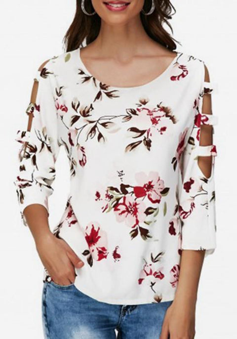 DaysCloth White Flowers Cut Out 3/4 Sleeve Round Neck Going out Blouse