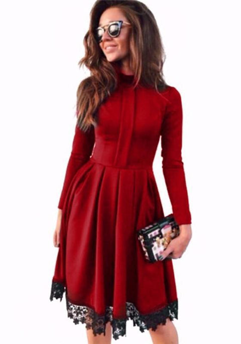 DaysCloth Red Patchwork Lace High Neck Going out Midi Dress