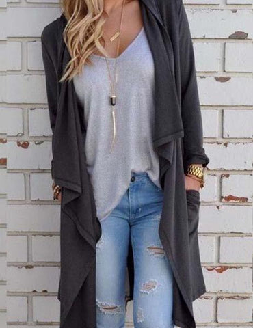 DaysCloth Women's Fashion Fall Outfit Gray Cardigans Coat