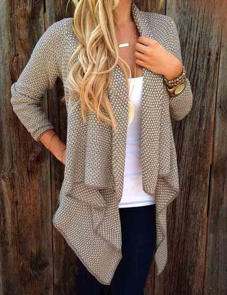 Asymmetric Casual Coat Open Knit Cardigan