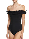 Black Off Shoulder Frill Trim One-piece Swimsuit