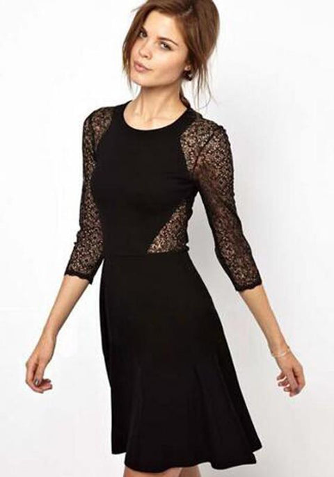 DaysCloth Black Patchwork Lace Draped Round Neck Midi Dress