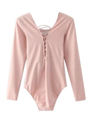 Pink Plunge Lace Up Front Long Sleeve Bodysuit