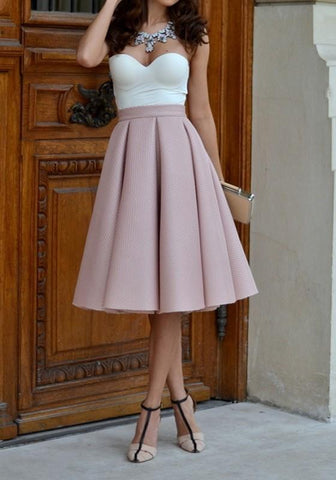 DaysCloth Pink Plain Pleated Skater Flared Vintage High Waisted Knee Length A Type Skate Skirt