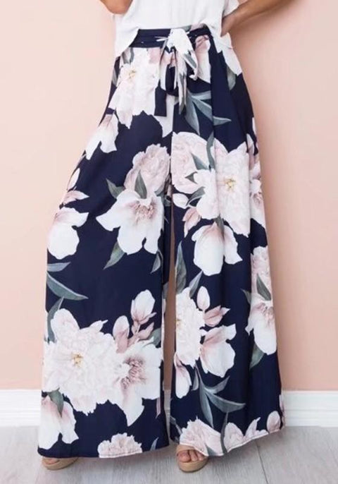 DaysCloth Navy Blue Floral Print Drawstring Waist Casual Long Pants