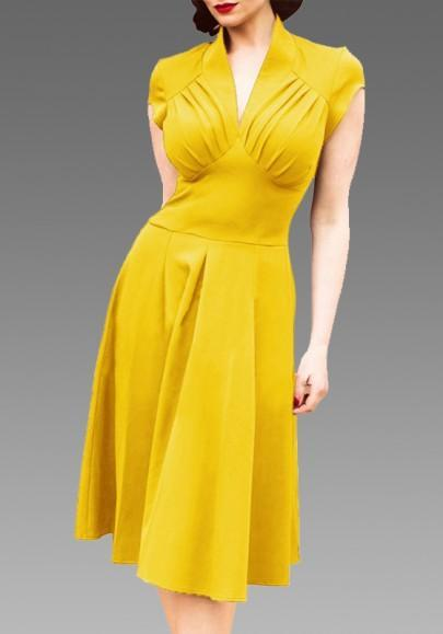 DaysCloth Yellow Plain Pleated V-neck Fashion Dacron Midi Dress