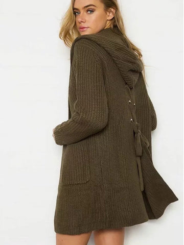 Army Green Pocket Lace Up Back Long Sleeve Hooded Knit Cardigan