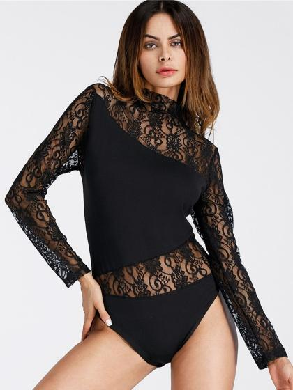 Black High Neck Lace Panel Long Sleeve Bodysuit