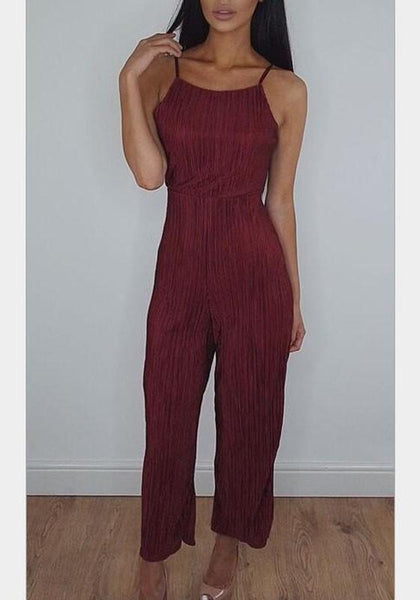 Red Backless Condole Belt Tie Back Fashion Long Jumpsuit