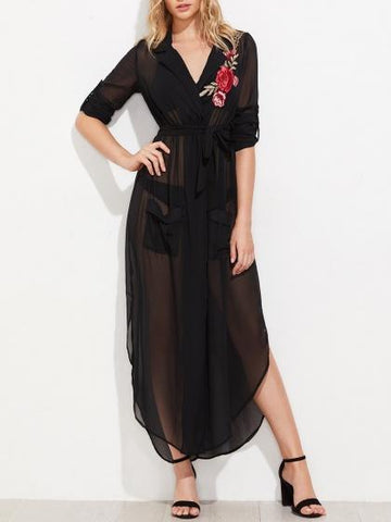 Black Lapel V-neck Tie Waist Side Split Maxi Dress