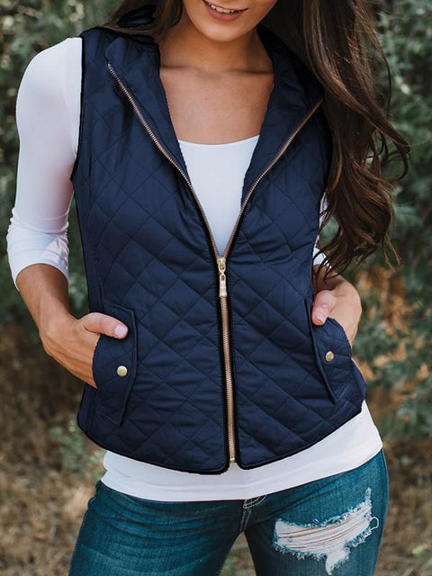DaysCloth New Dark Blue Zipper V-neck Casual Sweet Going out Vest
