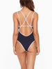 DaysCloth Blue Strap Cross One-piece Swimsuit